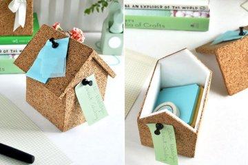 DIY : บ้านโฟมลายไม้ก๊อก ทั้งปักโน้ตและเก็บของ 4 - box