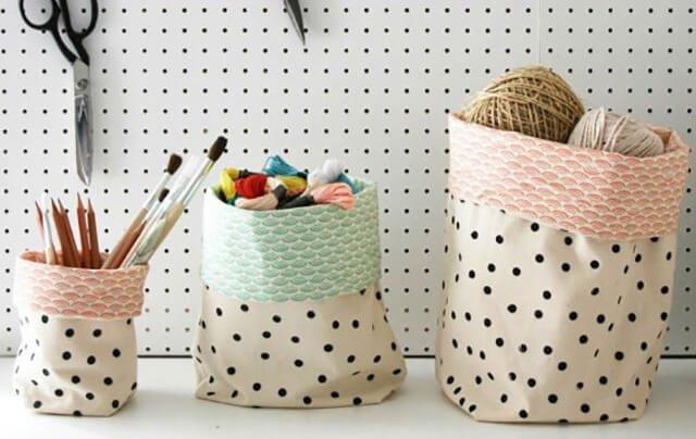 DIY : ตะกร้าใส่ของจากผ้าสีสวย 13 - ตะกร้า