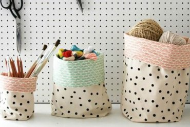 DIY : ตะกร้าใส่ของจากผ้าสีสวย 26 - DIY