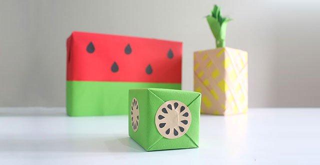 DIY: เปลี่ยนกล่องของขวัญธรรมดาให้หน้าตาเหมือนผลไม้ 13 - กระดาษ