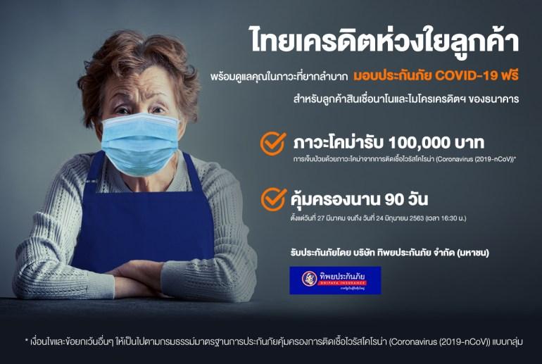 ธนาคารไทยเครดิตฯ ห่วงใยลูกค้า มอบกรมธรรม์ประกันภัยคุ้มครองชีวิตจากการติดเชื้อไวรัสโควิด-19 ให้ลูกค้านาโนและไมโครเครดิตฟรีนาน 90 วัน ชดเชย 100,000 บาท 13 -