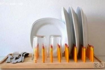 DIY ที่วางจานจากดินสอ และเขียง 30 - DIY