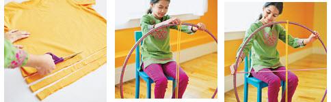 ถักทอพรมจากเสื้อยืดเก่า และ Hula Hoop 14 - easy craft