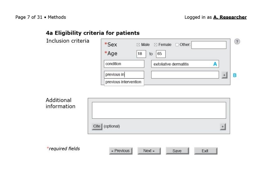 "Figure 7: An example showing how structured inclusion and exclusion critieria might be collected. Sex and age are required fields; researchers may select, Male, Female, both, or Other (for example, if the study population is intersex). (A) Users may fill in other inclusion criteria below. The field to the left is a controlled vocabulary with an """" option. Selecting ""condition"" will allow the user to select from a controlled vocabulary, for example, the ICD, in the field to the right. (B) The ""+"" button allows the user to add as many criteria as necessary. The subsequent screen, for exclusion criteria, could be similarly structured (minus the age and sex fields)."
