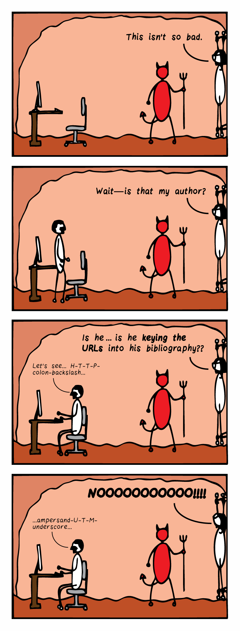 "Four-panel comic strip. Panel 1: Bespectacled editor is chained to the wall in hell while the devil stands by. There is a computer desk in the room. The editor says, ""This isn't so bad."" Panel 2: A man approaches the computer desk. The editor says, ""Wait—is that my author?"" Panel 3: The man is seated at the computer desk and mutters, ""Let's see... H-T-T-P-colon-backslash..."" The editor says, ""Is he…is he keying the URLs into his bibliography??"" Panel 4: The man continues to type, muttering, ""ampersand-U-T-M-underscore…"" The editor tilts her head back and screams, ""NOOOOOOOOOO!!!"""
