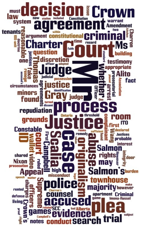Word cloud of terms from the court dot ca