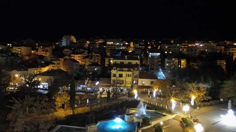 View of Sandanskik Bulgaria at night