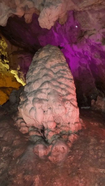 "The ""Pine Cone"" stalactite with purple lighting for the bats in cave Vrelo at Canynon Matka, Saraj Macedonia."