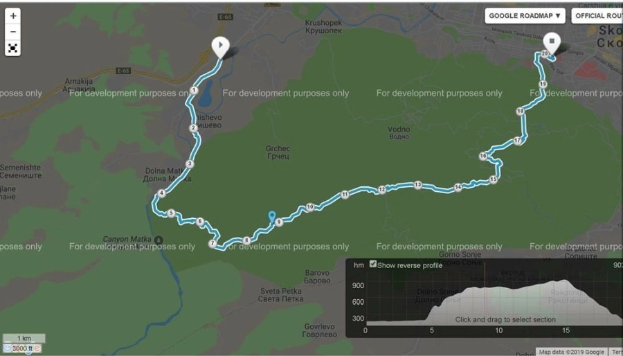 Hiking trail map of Skopje to Vodno to Matka Canyon.