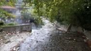Hot springs river in Loutra Pozar, Greece