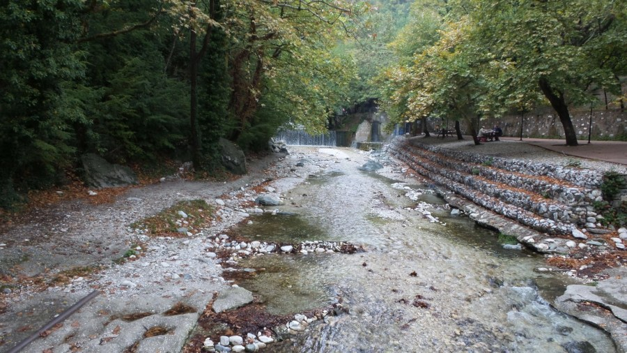 Place to relax and have a picnic by the waterfalls in Loutra Pozar, Greece