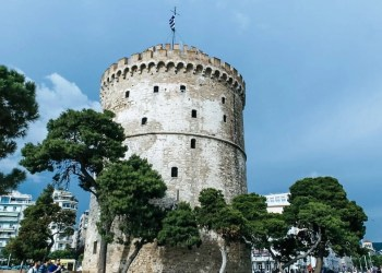 Close up of the White Tower of Thessaloniki in Greece