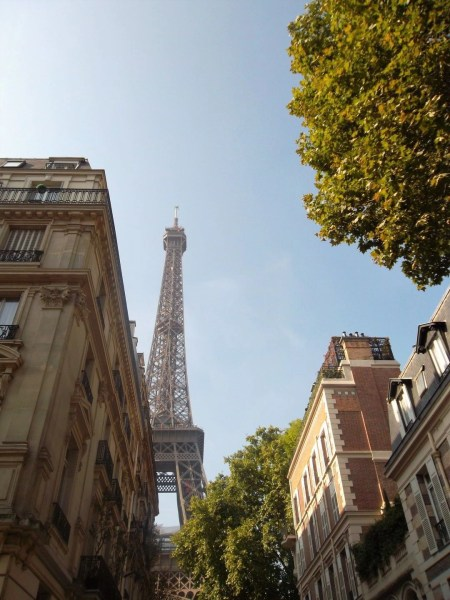 The Eiffel Tower in Paris, France from a distance.