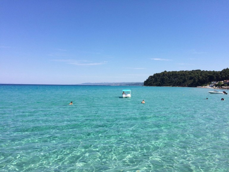 Kallithea beach in the first finger of the Halkidiki Peninsula in Greece, Kassandra