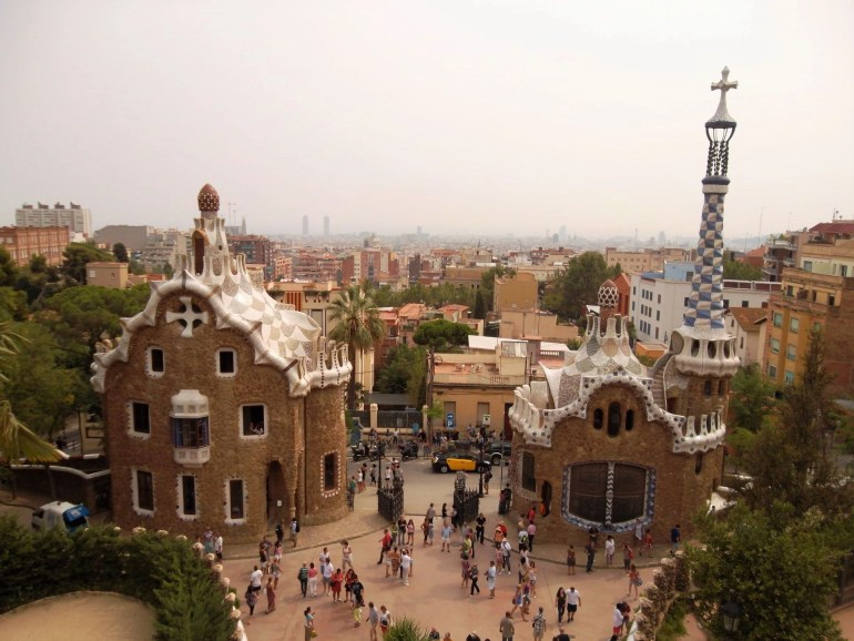 Panoramic view from Park Guella in Barcelona, Spain