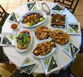 A table set with Macedonian food