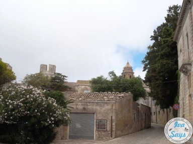 View of Chiesa di San Giuliano from the narrow streets in Erice, Sicily.