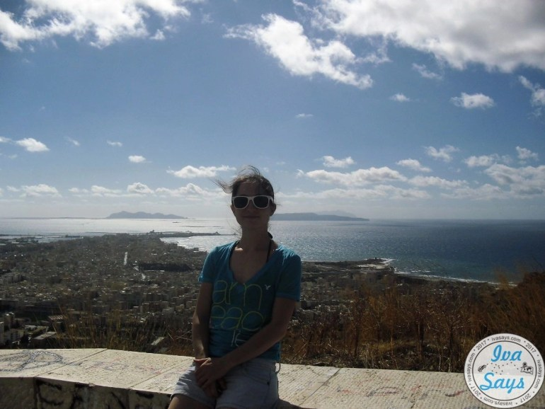 Beautiful view of the sea and the city Trapani. Leaving Erice and on the way to Trapani.