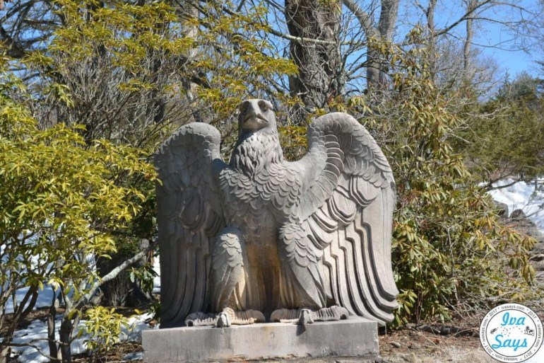 An eagle statue by the entrance to the New Jersey Botanical Gardens Skylands in Ringwood State Park, NJ.