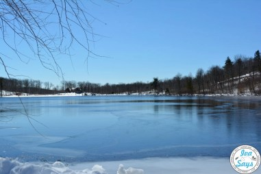 Lake Marcia in the winter time half frozen in High Point State Park in Sussex, NJ