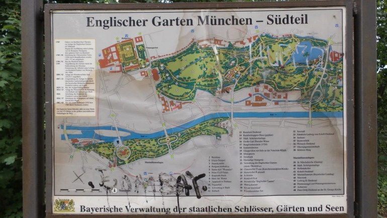 Image of a tourist map of the English Garden with all the landmarks in Munich, Germany.
