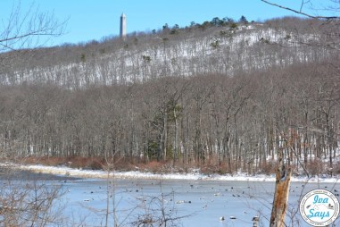 Steenykill Lake and High Point Monument in High Point State Park in Sussex, NJ