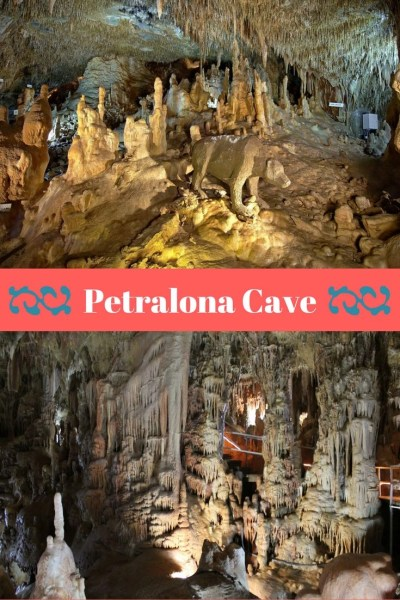 Exploring Petralona Cave in Chalkidiki, Greece. Inside of the cave showing cave stalagmites and stalactites. In the cave prehistoric human and animal bones and fossils have been discovered.