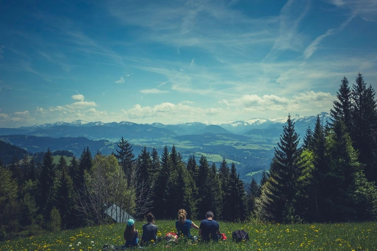 People sitting on grass on a hill in a mountain with trees in the foreground.