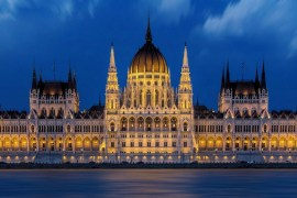 Image of the Hungarian Parliament Building during dusk time.
