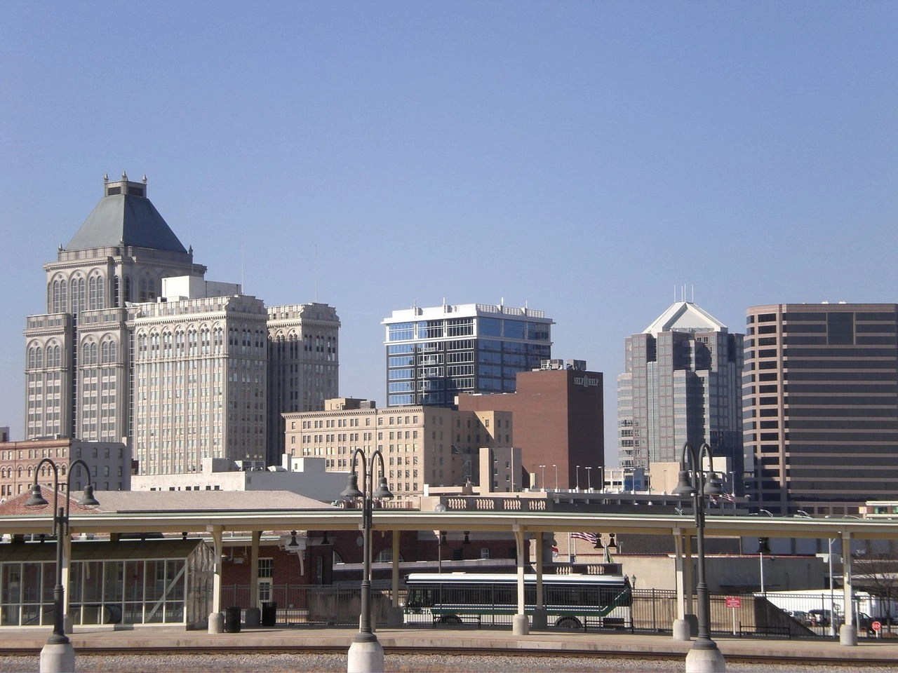 The skyline of Greensboro, North Carolina with modern day buildings and architecture.