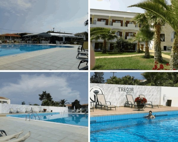 Collage of the swimming pool at Tresor Sousuras Hotel in Chaniotis, Greece. Large swimming pool with sunbeds and umbrellas around the pool.