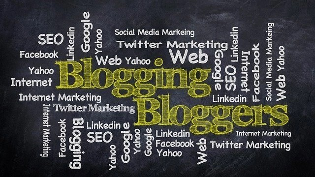 Cover of words associated to blogging, bloggers, social media, seo, twitter, social marketing, google, yahoo, other social media platforms such as LInkedin.