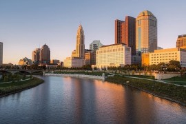 City skyline of the Cap City Columbus, Ohio. Traveling, tourism, and visiting Columbus, Ohio.