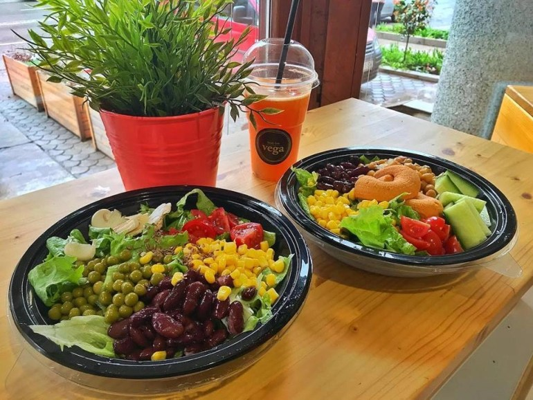 Vegan and vegetarian salads with a smoothie from Vega Fresh Bar in Skopje, Macedonia