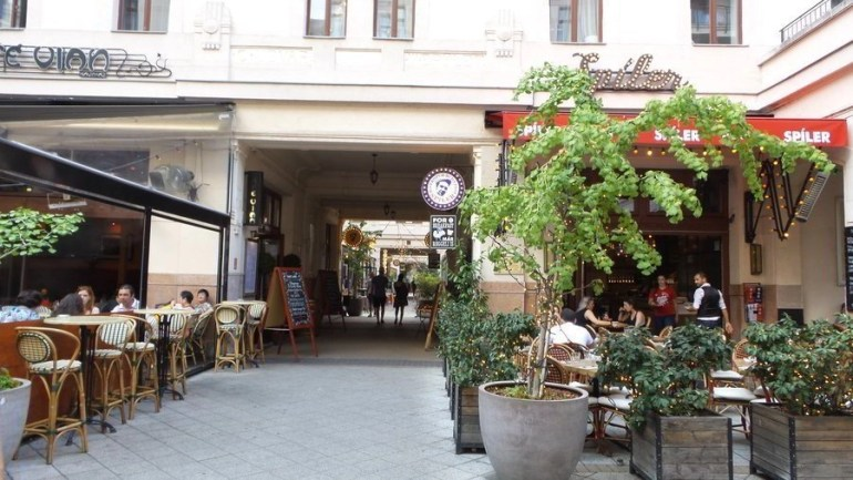 Part of the Jewish quarter in Budapest alongside the trendy bars.