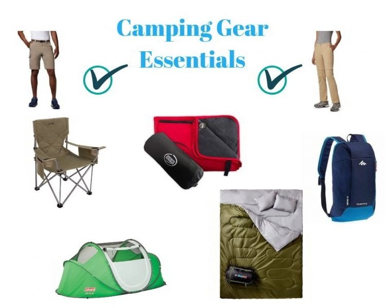 Collage of camping and outdoor gear like men's pants, tents, and sleeping bags.