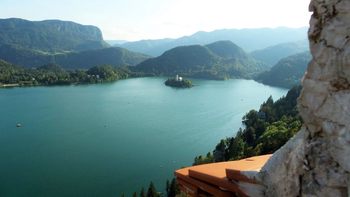View from Castle Bled toward Lake Bled - Travelling the Balkans.