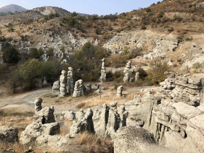 Panoramic view of the stone dolls located in Kuklica, Macedonia. Stone pillars shaped in human figures from erosion.