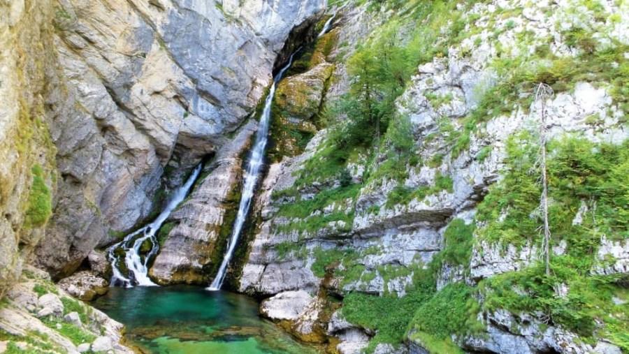 Savica Waterfall in Triglav National Park in Slovenia.
