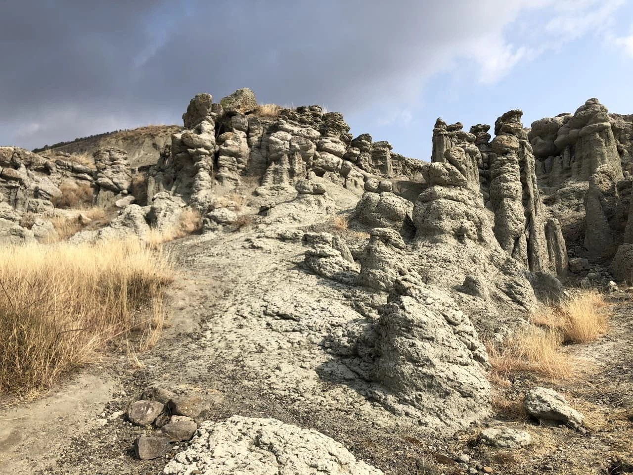 Earth pillars shaped in a resemblance of human figures in Kuklica Macedonia.