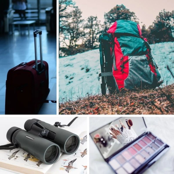 Photo collage of backpacks and binoculars.