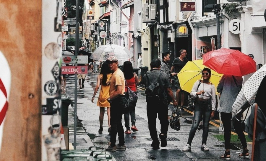 People on a street holding umbrellas.
