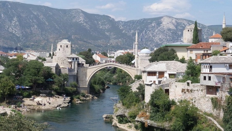The arc shaped Mostar bridge in Bosnia.