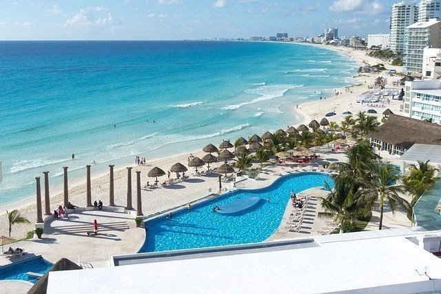 Sany beach in Cancun, Mexico