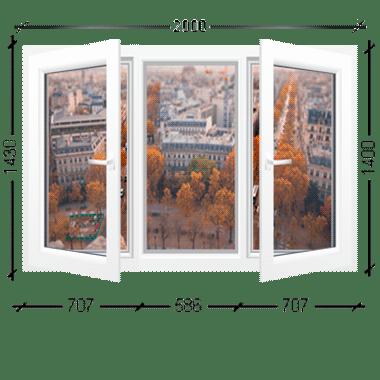 Окно трехстворчатое две створки поворотно-откидные Иваново