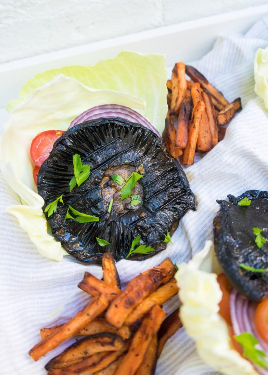 Grilled Portobello Mushroom Burger with Sweet Potato Fries