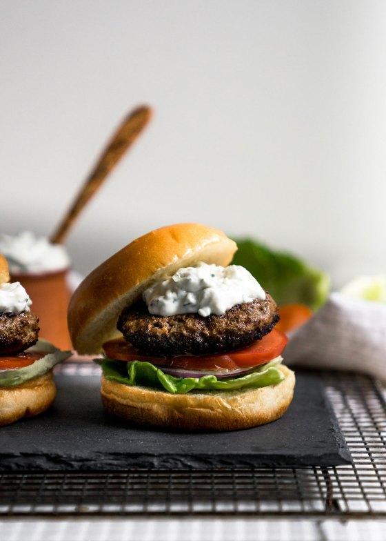 Juicy Lamb Burgers with Tzatziki