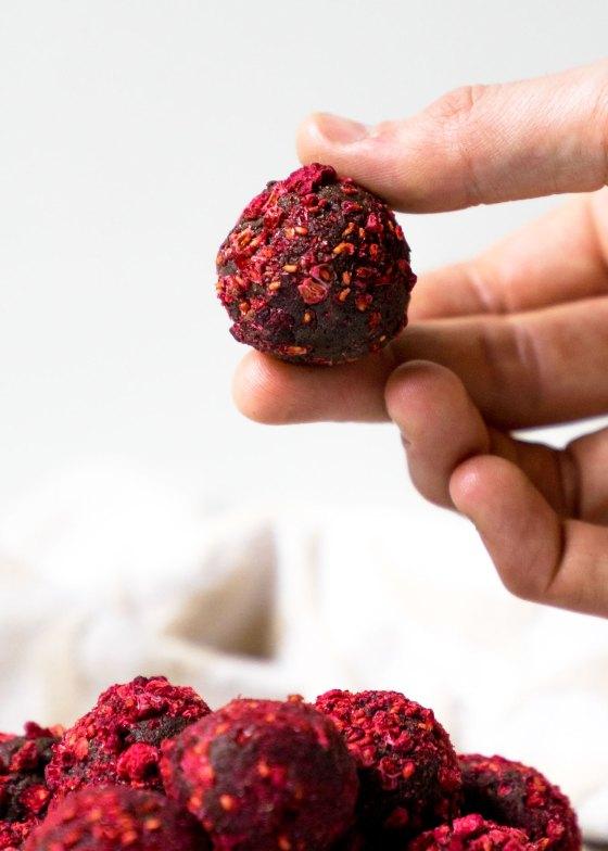 Raspberry Avocado Chocolate Truffles