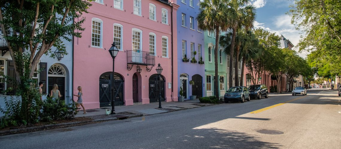 la Rainbow Row di Charleston