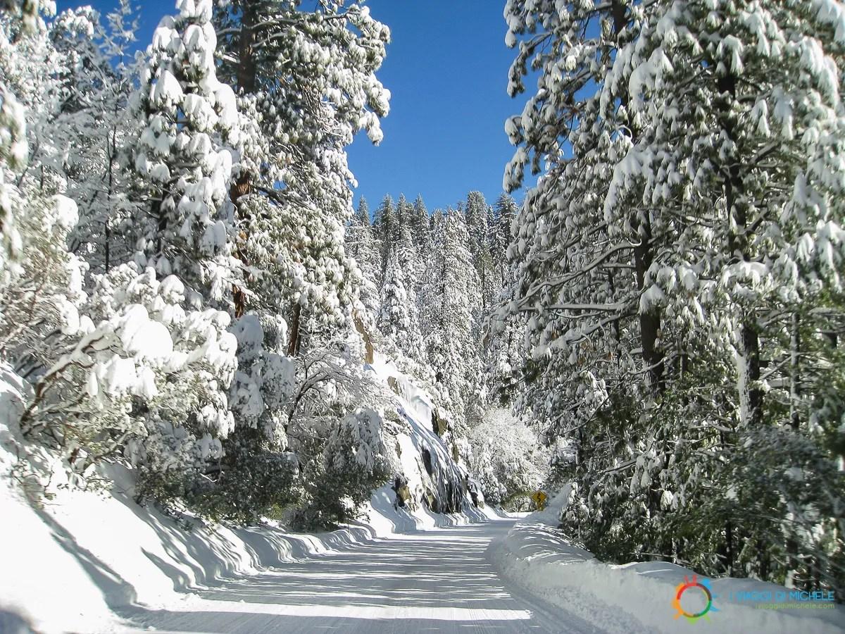 La strada innevata verso lo Yosemite NP